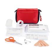 Førstehjælpssæt i rød taske med bæltesløjfe