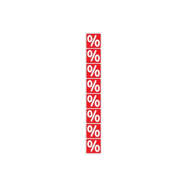Mærkat procenttegn-banderole, lodret