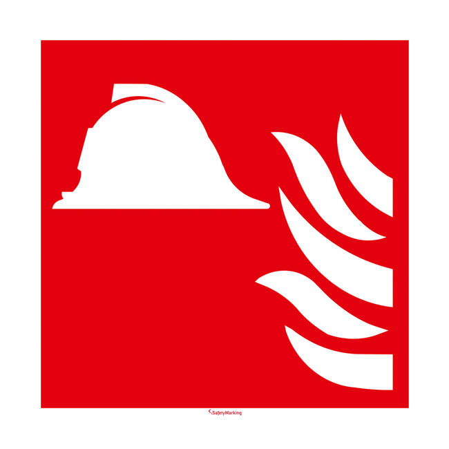 Skilt med middel og enhed til brandbekæmpelse