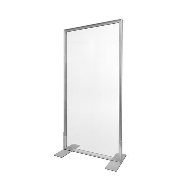Skillevæg af aluminium Stretchframe med glasklar banner
