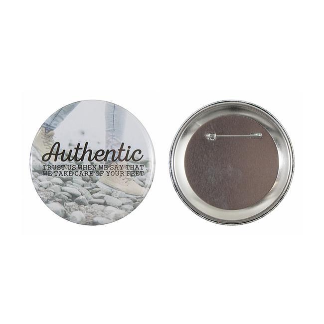 Badges i metal, pin og gennemsigtigt forside