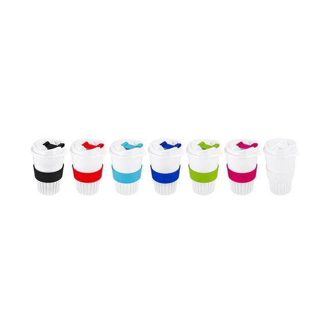 Bio Coffee-to-go-bæger med farverige applikationer