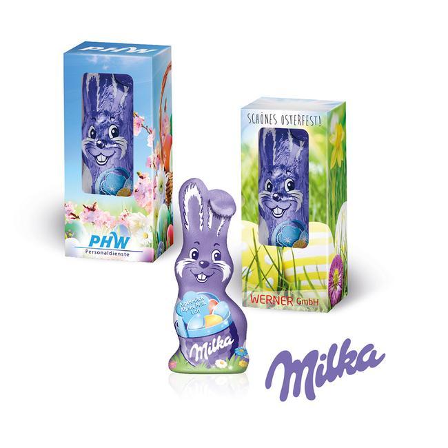Milka smilende hare
