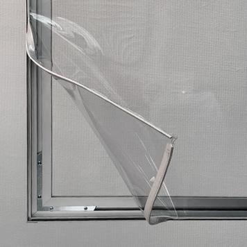 Skillevæg af aluminium Stretchframe med glasklart banner