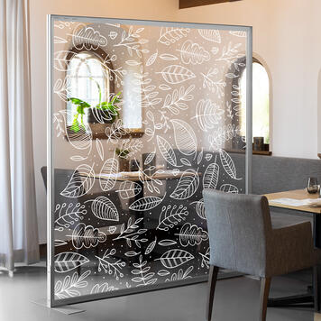 Glasklart banner inkl. hvidt tryk til Stretchframe af aluminium