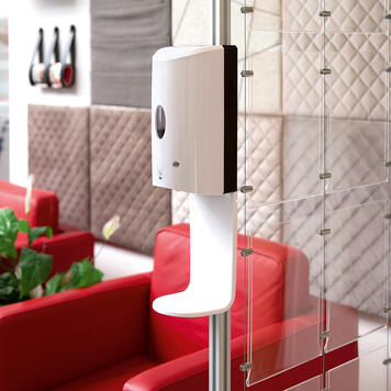 Sensor-Wall - Eftermonteringssæt, desinfektionsmiddel dispenser til skillevæg & 30's Quattro profil